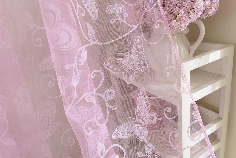 Rose 200 x 100cm 200cm Voilage de Fen/être Papillon Flocage Panneau de Tulle Diviseur 100