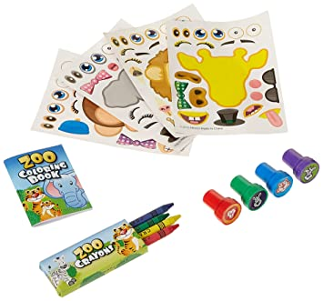Fun Land 12 Animal Coloring Books And Crayons 12 Jungle Zoo Stampers 12 Zoo Animal Stickers Party Favor Set 1 Dozen Of Each