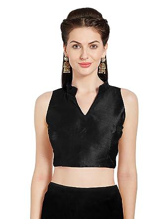 8e3c432420 Women's Black Art Silk Readymade Saree Blouse Chinese Collar Sleeveless  Choli