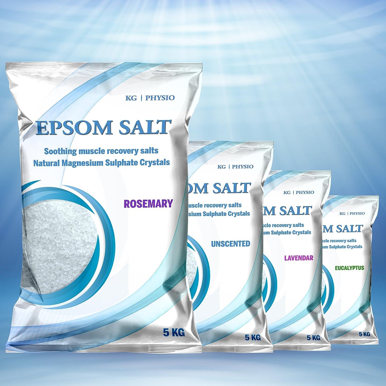 KG Physio Epsom Sali 5kg per bagno di magnesio puro impiegato per la rigenerazione e il rilassamento muscolare