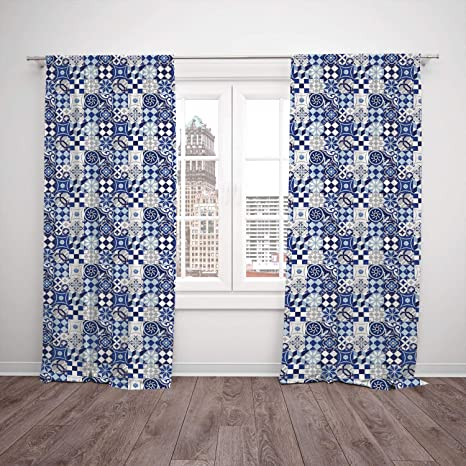 Image result for GEOMETRIC DESIGN BLUE CURTAINS
