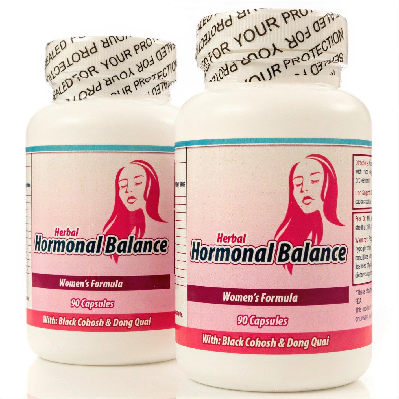 Balance Hormonal. Suplemento Natural para balancear las hormonas femeninas. Set de 2 frascos con 90 capsulas CADA uno. Tratamiento para 3 Meses. 100% Natural