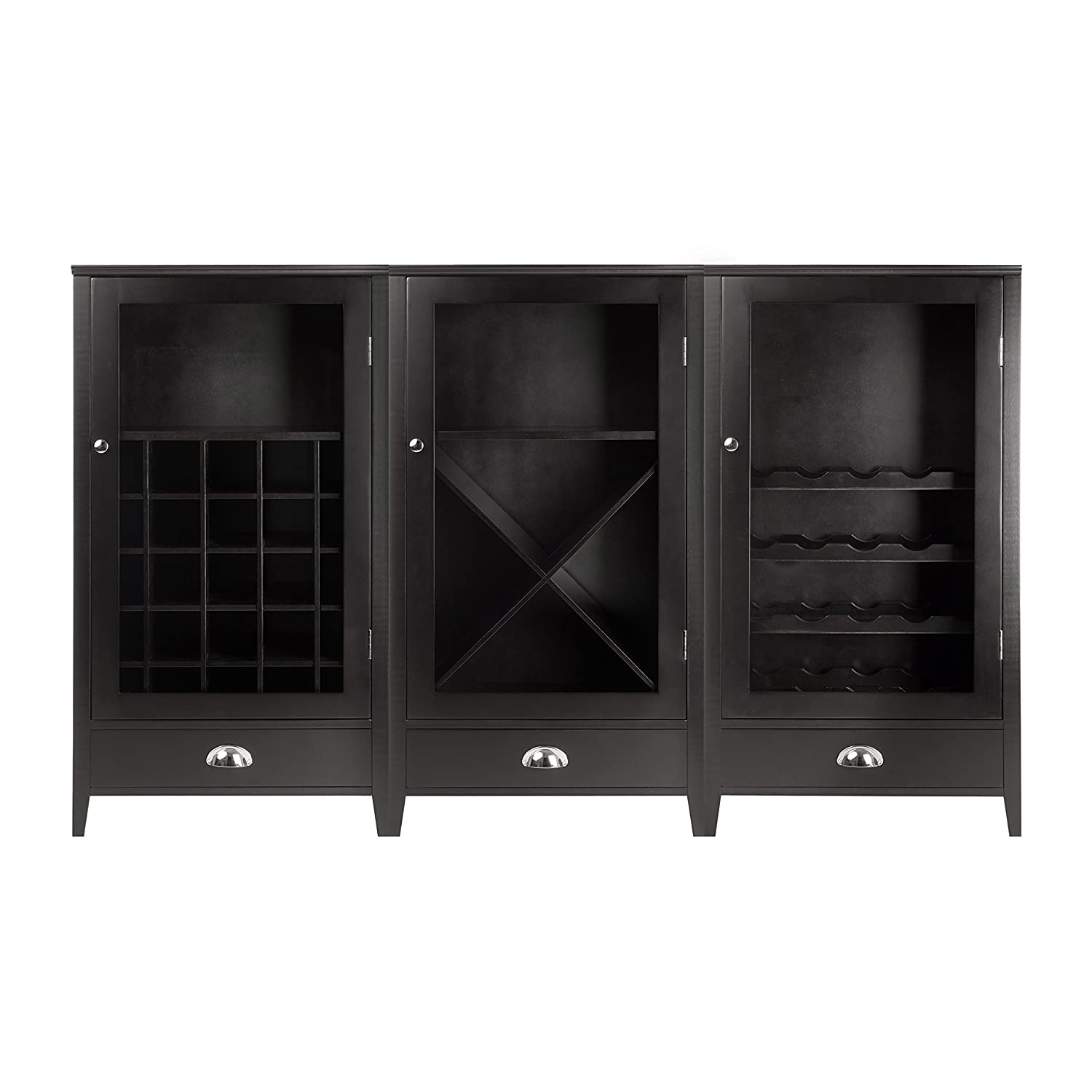 Amazon.com Winsome Wood 3-Piece Wine Cabinet Modular Set Kitchen u0026 Dining  sc 1 st  Amazon.com & Amazon.com: Winsome Wood 3-Piece Wine Cabinet Modular Set: Kitchen ...