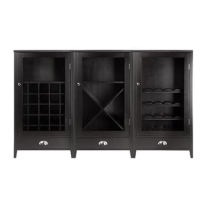 Amazon Com Winsome Wood 3 Piece Wine Cabinet Modular Set Kitchen