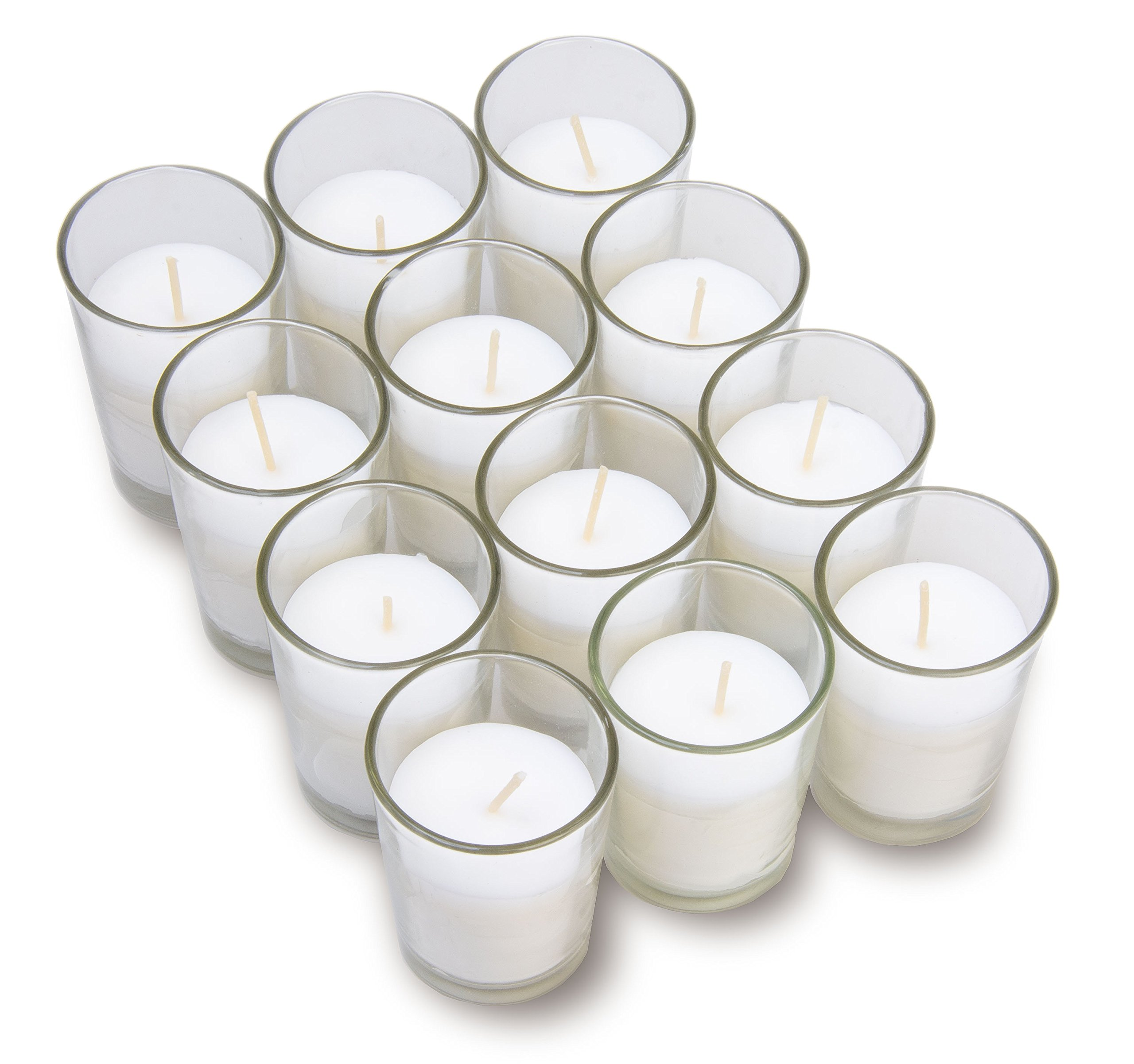 Harmonic Blossom Glass Votives 12 Pack - Premium White Unscented Votive Candles in Clear Elegant Holders - 15 Hour Long Lasting Burn Time - For Weddings, Parties and Event Decoration Centerpieces