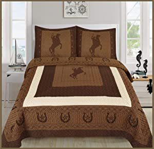 Elegant Home Western Texas Star Stars Horse Horses Riding Cowboy Design 3 Piece Coverlet Bedspread Quilt # Cowboy (Brown/Chocolate, King Size)
