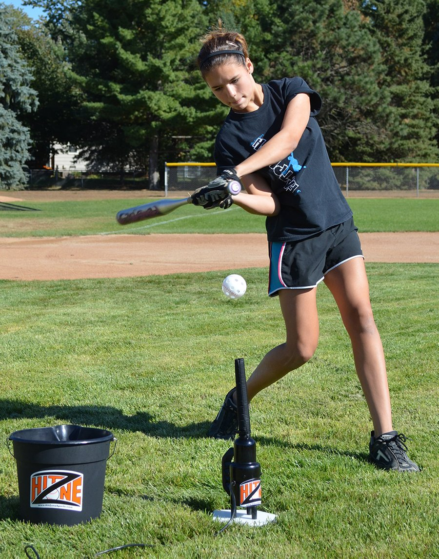 Hit Zone Jr Baseball - Softball - T Ball Air Powered Youth Batting Tee - Ball Floats in Mid Air - Comes with 12 Balls & Bonus 14.5 Inch Tall Sleeve for Practicing at 2 Heights - Made in The USA by Hit Zone