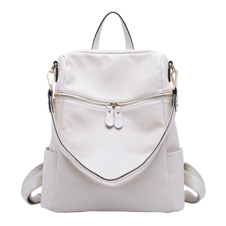 BOYATU Women Leather Backpack Fashion Travel Bag Large Capacity Shoulder Bag (Off White)