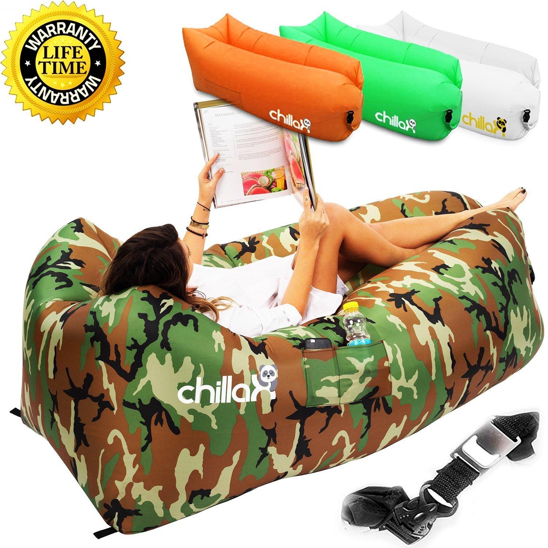 最高品質の Chillax Inflatable Lounger with Carryバッグの固定Stake、、栓抜き B01M24FQO0 Lounger、旅行、キャンプ Inflatable、ハイキング、プールビーチパーティ 迷彩 B01M24FQO0, リバース:376f704a --- arianechie.dominiotemporario.com