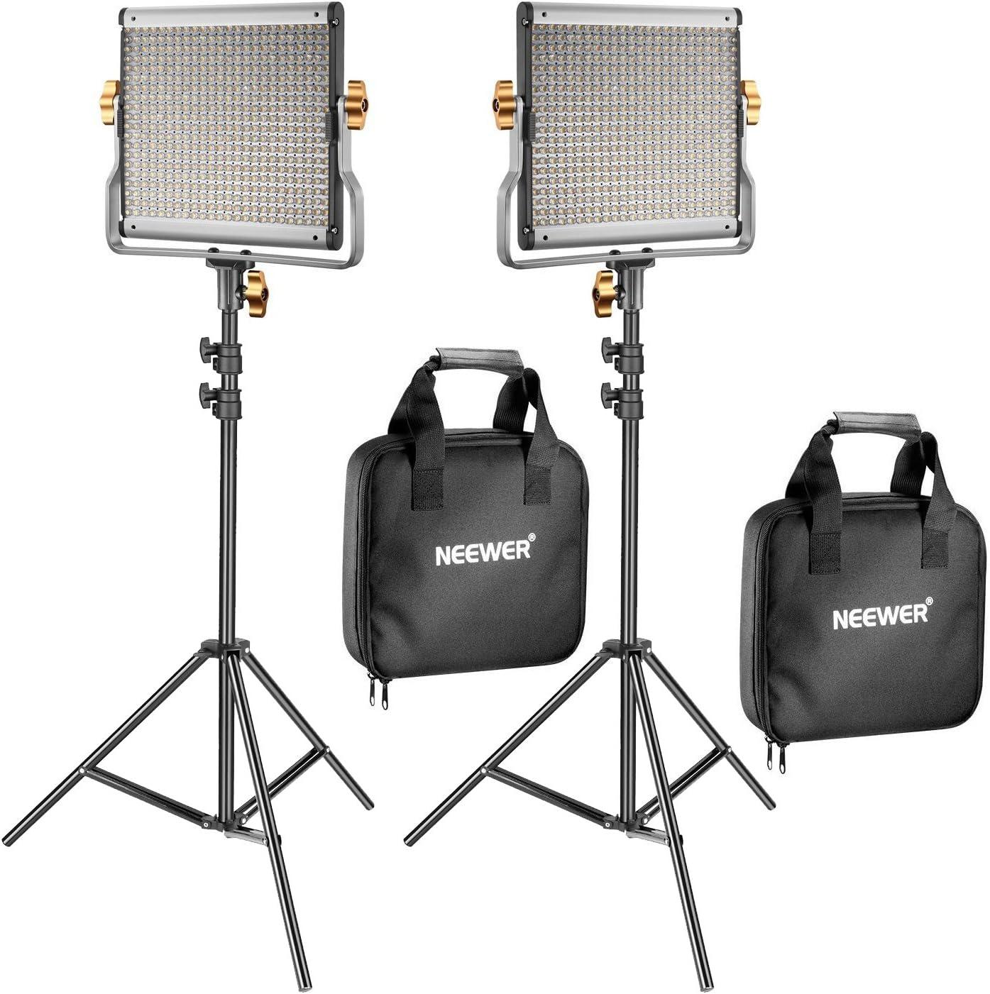 Neewer 2 Pack Regulable Bi-Color 480 LED de Luz de Vídeo y Kit de Iluminación de Soporte Incluye: 3200-5600K CRI 96 + Panel de LED con Soporte U, 200 Centímetros Soporte de Luz