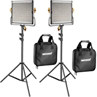 Neewer 2 Pack Dimmable Bi-Color 480 LED Video Light and Stand Lighting Kit Includes: 3200-5600K CRI 96+ LED Panel with U…