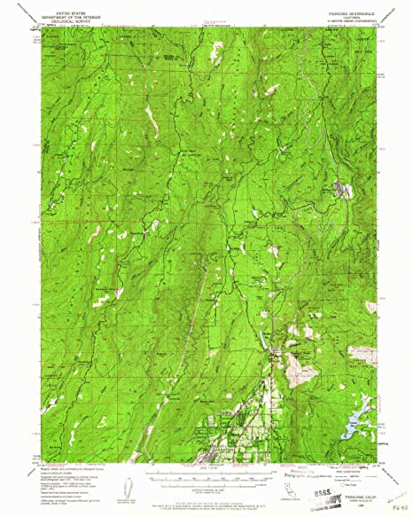 Paradise California Map.Amazon Com Yellowmaps Paradise Ca Topo Map 1 62500 Scale 15 X 15