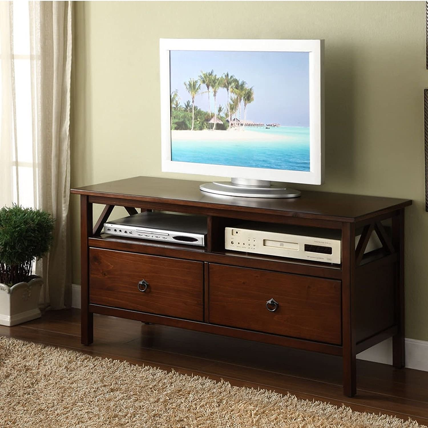 Pongwit TV Stand Storage Living Room Home Furniture Wood Drawer Decor Aged Cherry