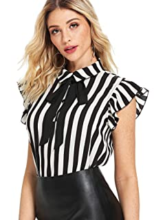 d6c3ac357d21 SheIn Women's Casual Bow Tie Neck Short Sleeve Ruffle Stripe Blouse  Workwear Top