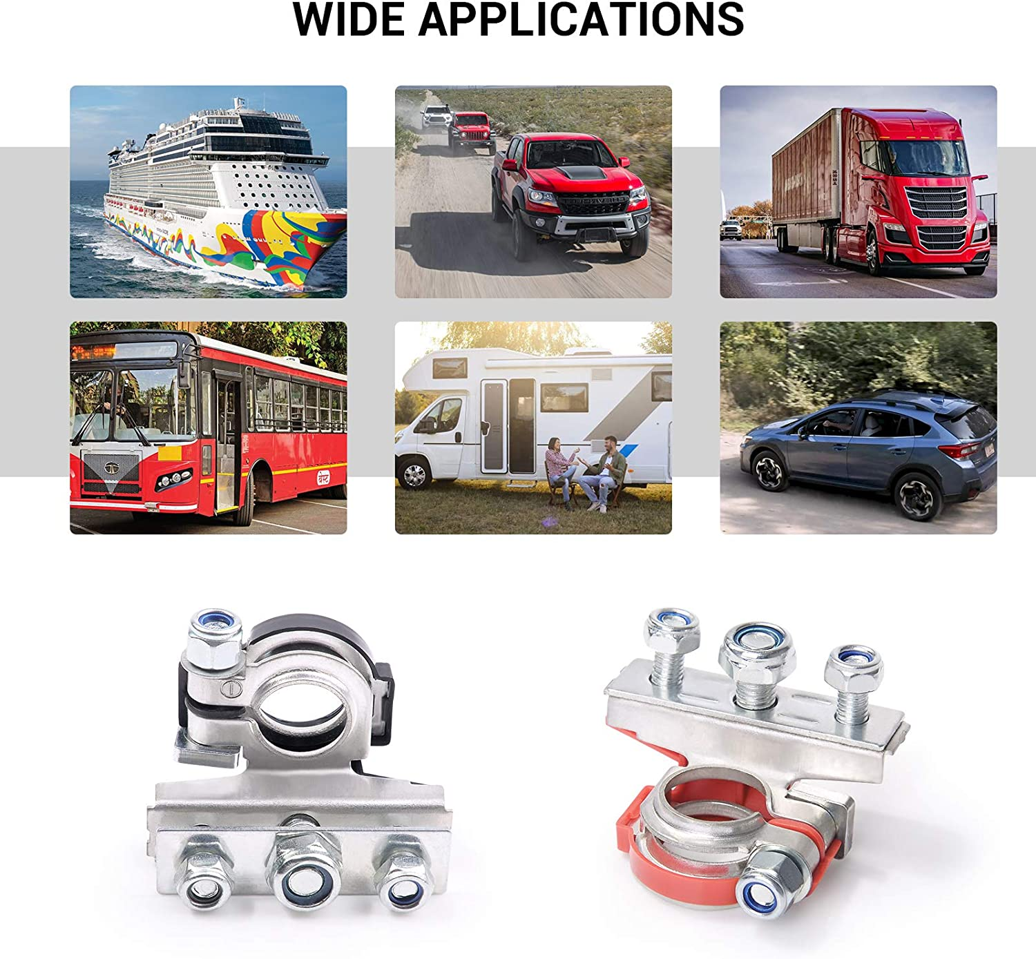 Black /& Red Negative and Positive Copper Plate Cable Clamp Quick Connector for Boat Caravan Van Motorhome Motorcycle MNJ MOTOR 3 Way Car Battery Terminal Connectors