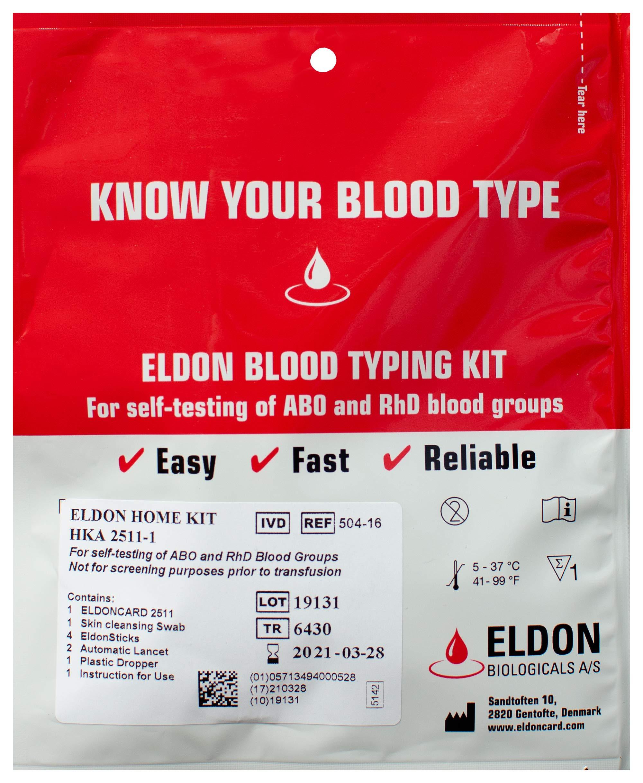 Original Home Blood Typing Kit - New Packaging + Extra Lancet - Single Kit