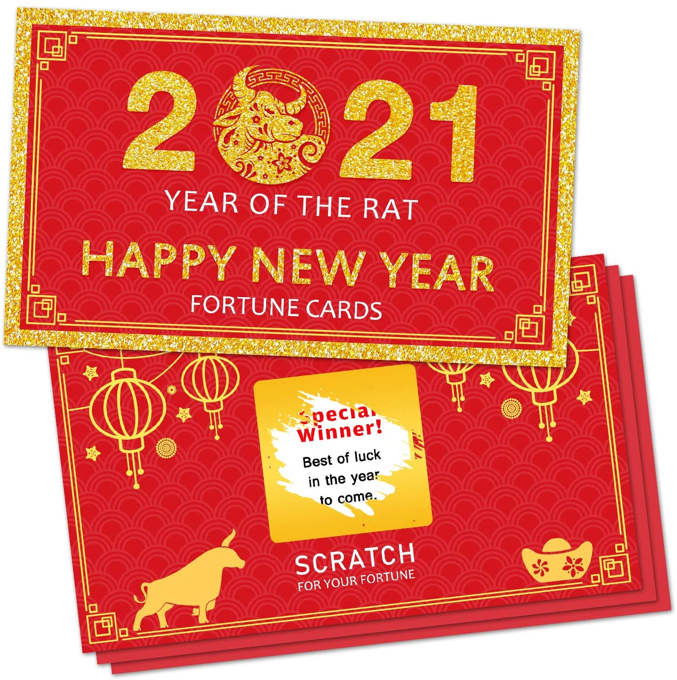 Chinese New Year - 2021 Year of the Ox Party Scratch Off Fortune Cards - 30 Count-New Year Party Needs