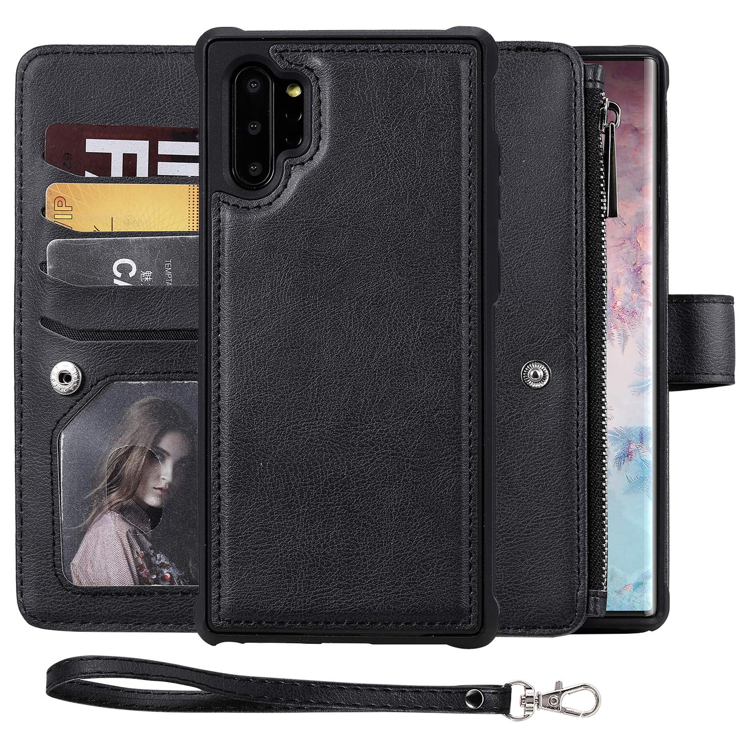 Galaxy Note 10 Wallet Case,SAVYOU 2 in 1 Folio Flip Durable Magnetic Detachable Cover fit Car Mount [8 Card Holder] [Wrist Strap] PU Leather Wallet Case for Samsung Galaxy Note 10 6.3 inch by SAVYOU