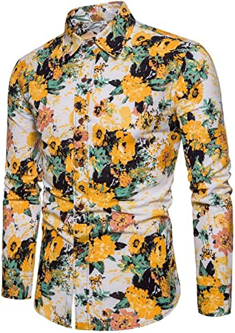 YYG Mens Lapel Long Sleeve Casual Slim Printed Button Up Dress Shirt