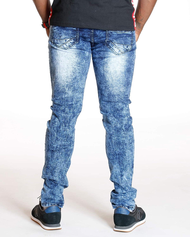 Ankor East Vim Mens Knit Denim Acid Look Skinny Jean,Medium Blue,40