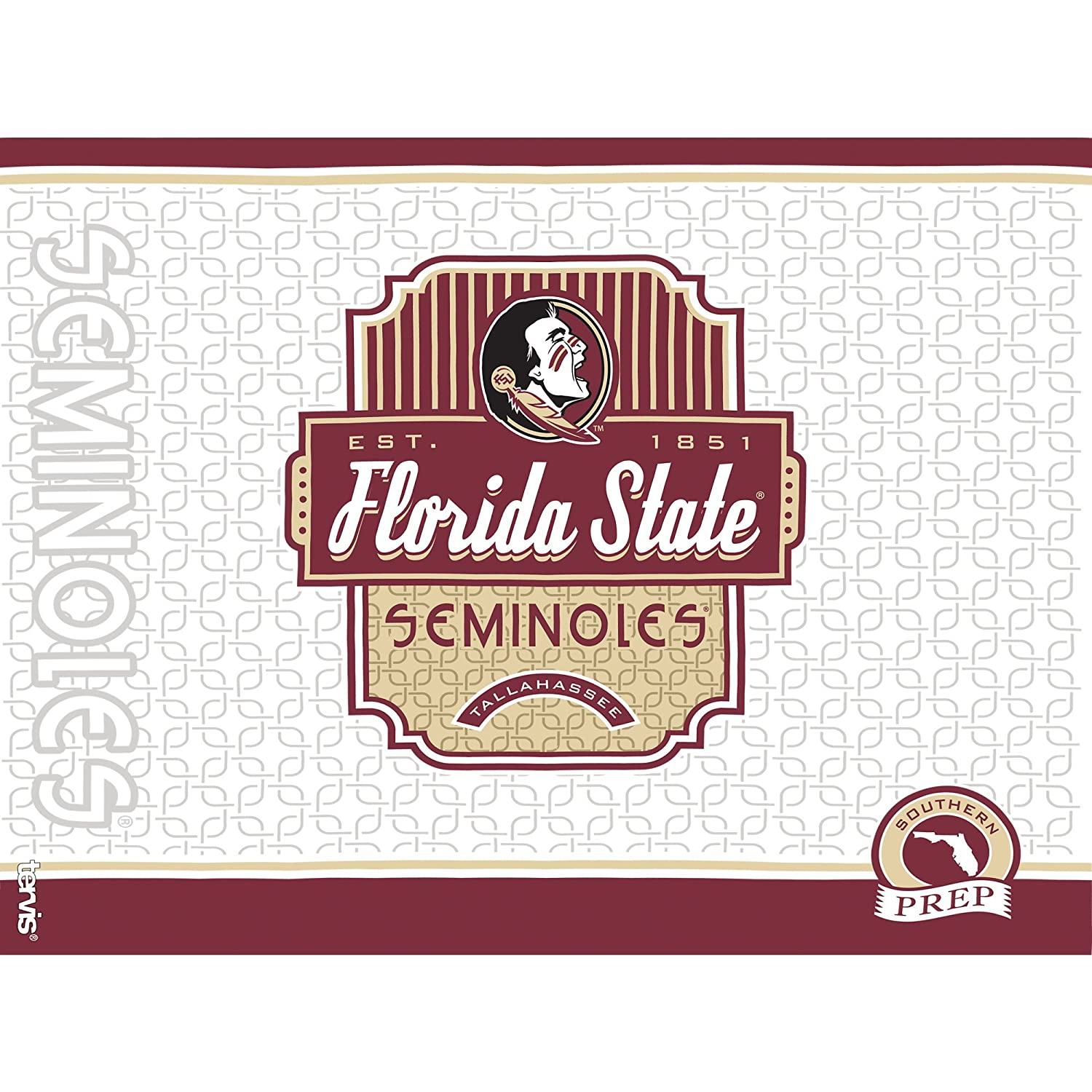 Tervis 1228317 Florida State Seminoles Pregame Prep Tumbler with Wrap and Maroon Lid 24oz Clear