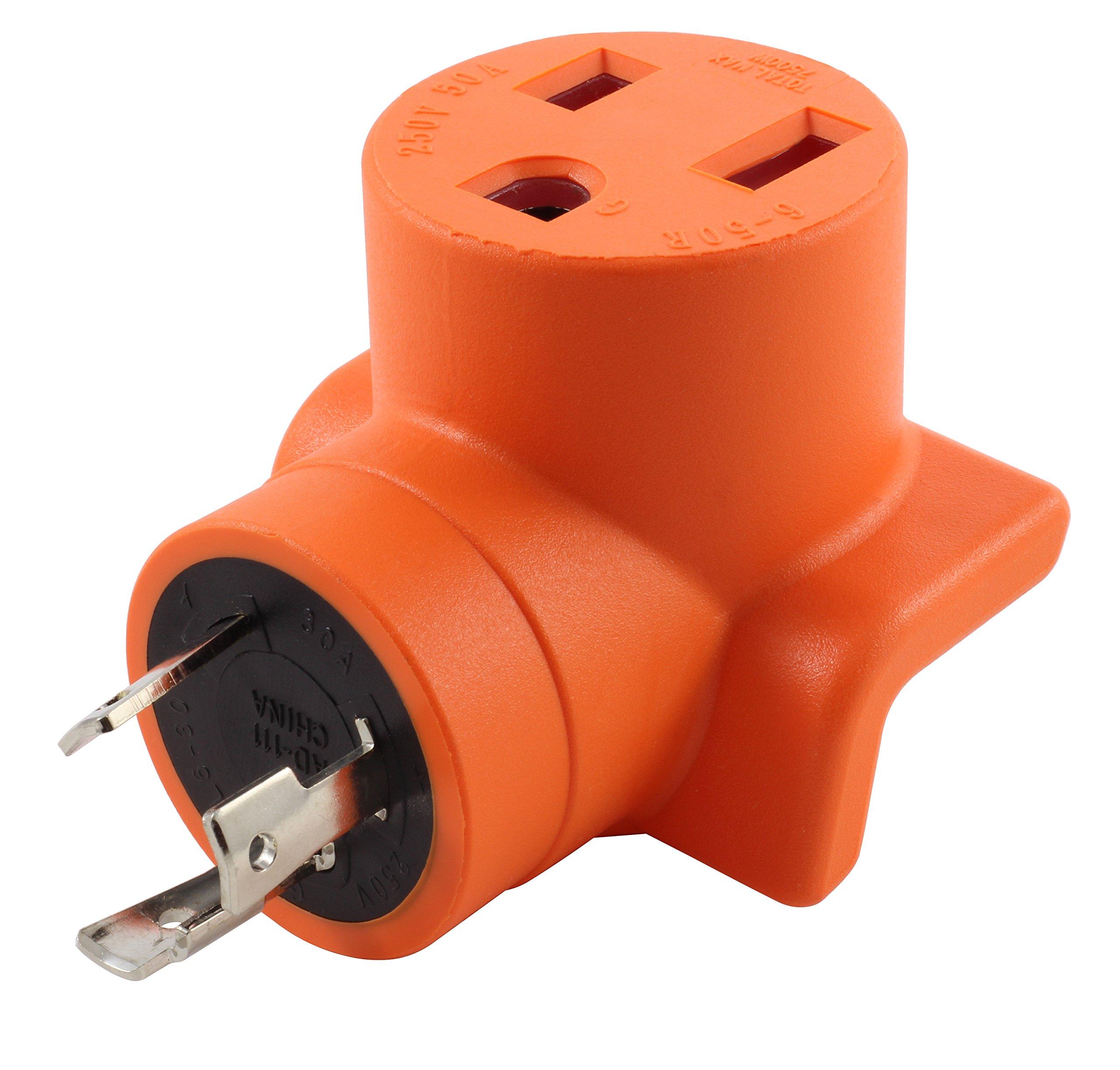 AC WORKS [WDL630650] L6-30P 30Amp 250V Lockign Plug to 6-50 Welder connector
