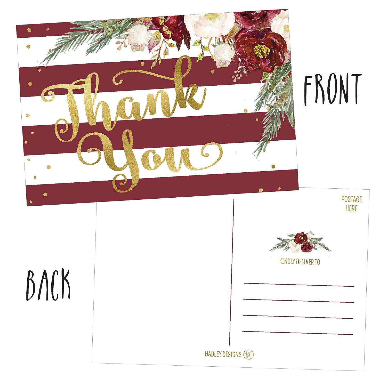 Amazon.com : 25 4x6 Blank Christmas Holiday Thank You Postcards Bulk ...