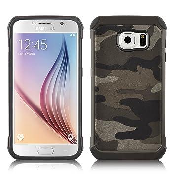 Carcasa Galaxy S6, JAMMYLIZARD Funda Resistente Diseño Camuflaje [ Army ] TPU Heavy Duty Case Cover Para Samsung Galaxy S6, MARRÓN