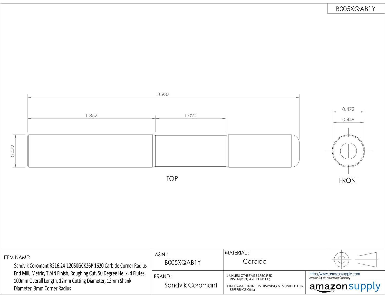 Metric 12mm Shank Diameter Sandvik Coromant R216.24 Carbide Corner Radius End Mill 12mm Cutting Diameter 4 Flutes Roughing Cut TiAlN Monolayer Finish 50 Deg Helix 100mm Overall Length 3mm Corner Radius