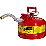 """Justrite 7225130 AccuFlow 2.5 Gallon, 11.75"""" OD x 12"""" H Galvanized Steel Type II Blue Safety Can With 1"""" Flexible Spout"""
