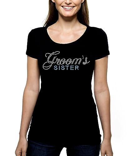 grooms sister rhinestone t shirt shirt tee bling pick rhinestone color script cursive