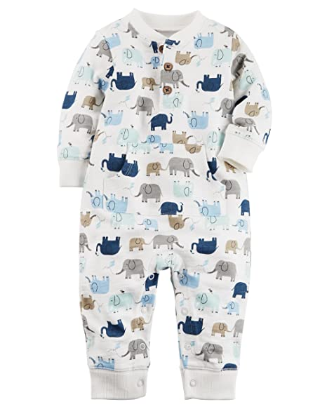 4f76aa7c7c9d Amazon.com  Carter s Baby Boys  Elephant French Terry Jumpsuit 3 ...