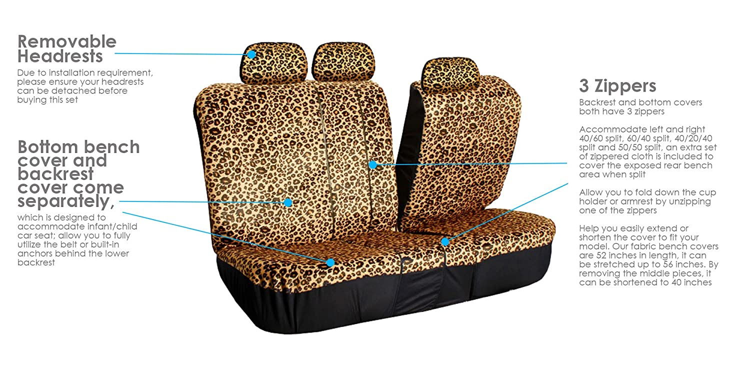 Pleasant Fh Group Fb125Brown115 Brown Classic Leopard Car Seat Cover Airbag Compatible And Split Bench Gmtry Best Dining Table And Chair Ideas Images Gmtryco
