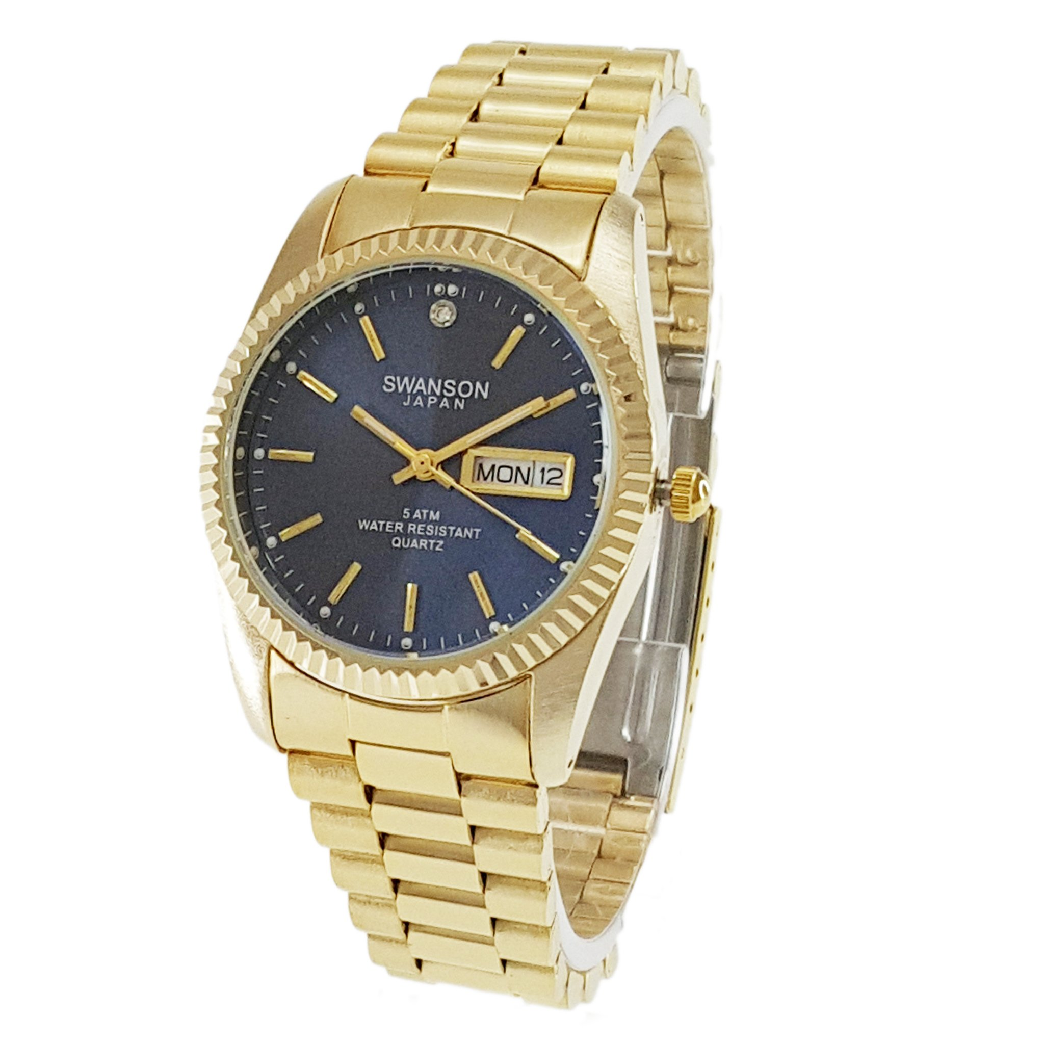 Swanson Men's Gold Day-Date Watch Navy Blue Dial with Travel Case