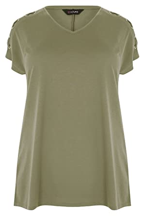 7a2ad008979 Yours Clothing Women s Plus Size Jersey Top with Lace Eyelet Details Size  26-28 Khaki