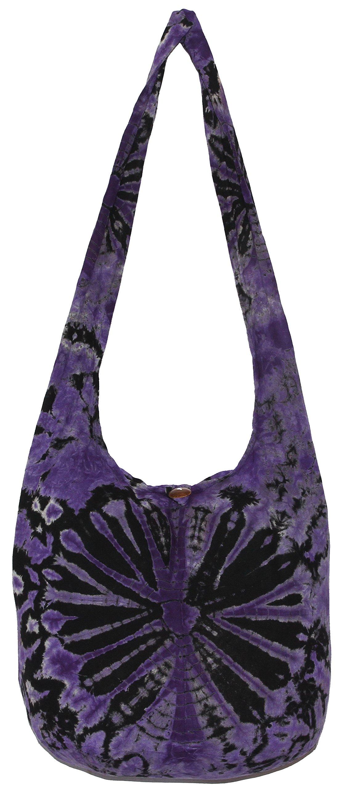 TIE DYE Crossbody Bohemian Shoulder Bag Hobo Purse Big 39'' (VioletBlack)