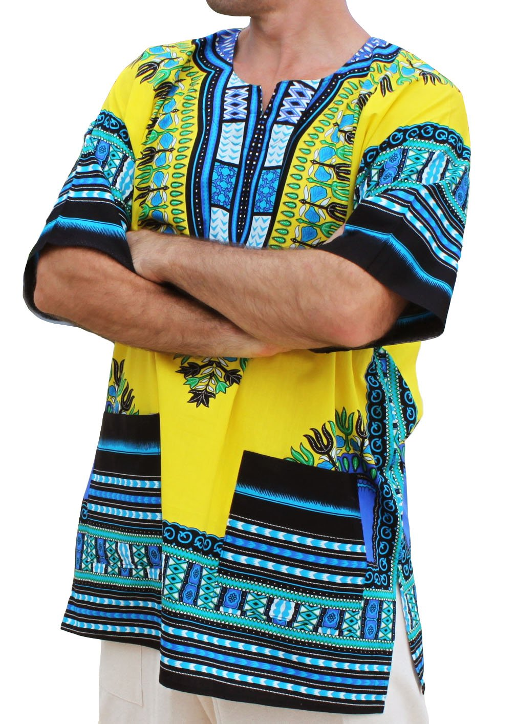 Raan Pah Muang RaanPahMuang Unisex African Bright Dashiki Cotton Shirt Variety Colors variant15060AMZ