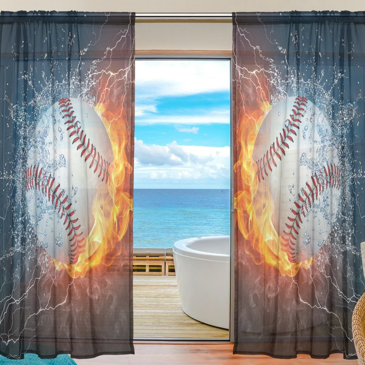 SEULIFE Window Sheer Curtain, Sport Ball Baseball in Fire and Water Voile Curtain Drapes for Door Kitchen Living Room Bedroom 55x84 inches 2 Panels by SEULIFE