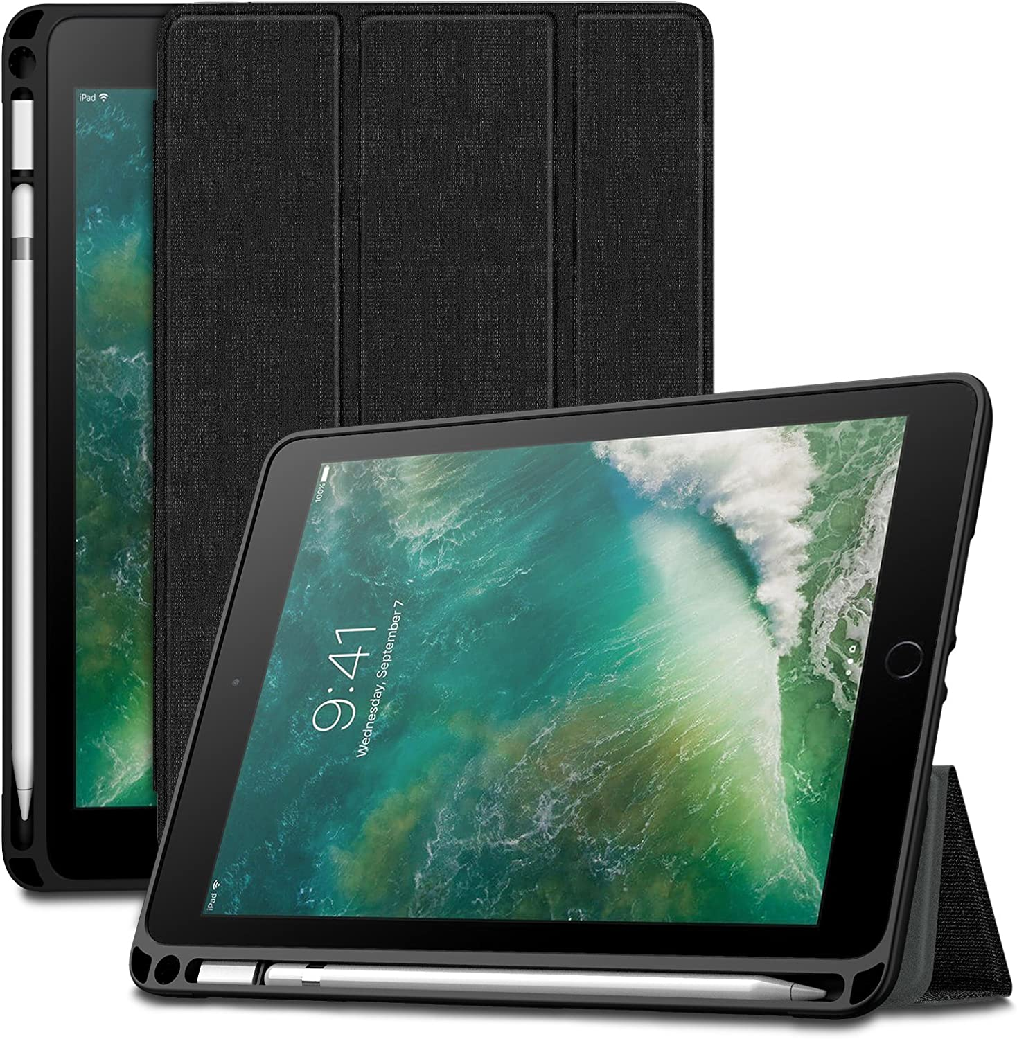 Amazon Com Infiland Ipad 9 7 2018 Case Tri Fold Smart Cover With Apple Pencil Holder Compatible With Apple Ipad 6th Gen 9 7 Inch 2018 Released Auto Wake Sleep Black Computers Accessories