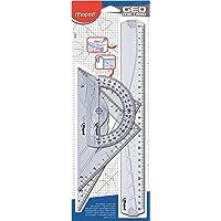 Maped - Kit Géométrie 4 en 1 - Règle 30 cm + Équerre Scolaire 60°/21 cm + Équerre Scolaire 45°/21 cm + Rapporteur 180° / 12 cm - Set de Traçage Rigide Transparent