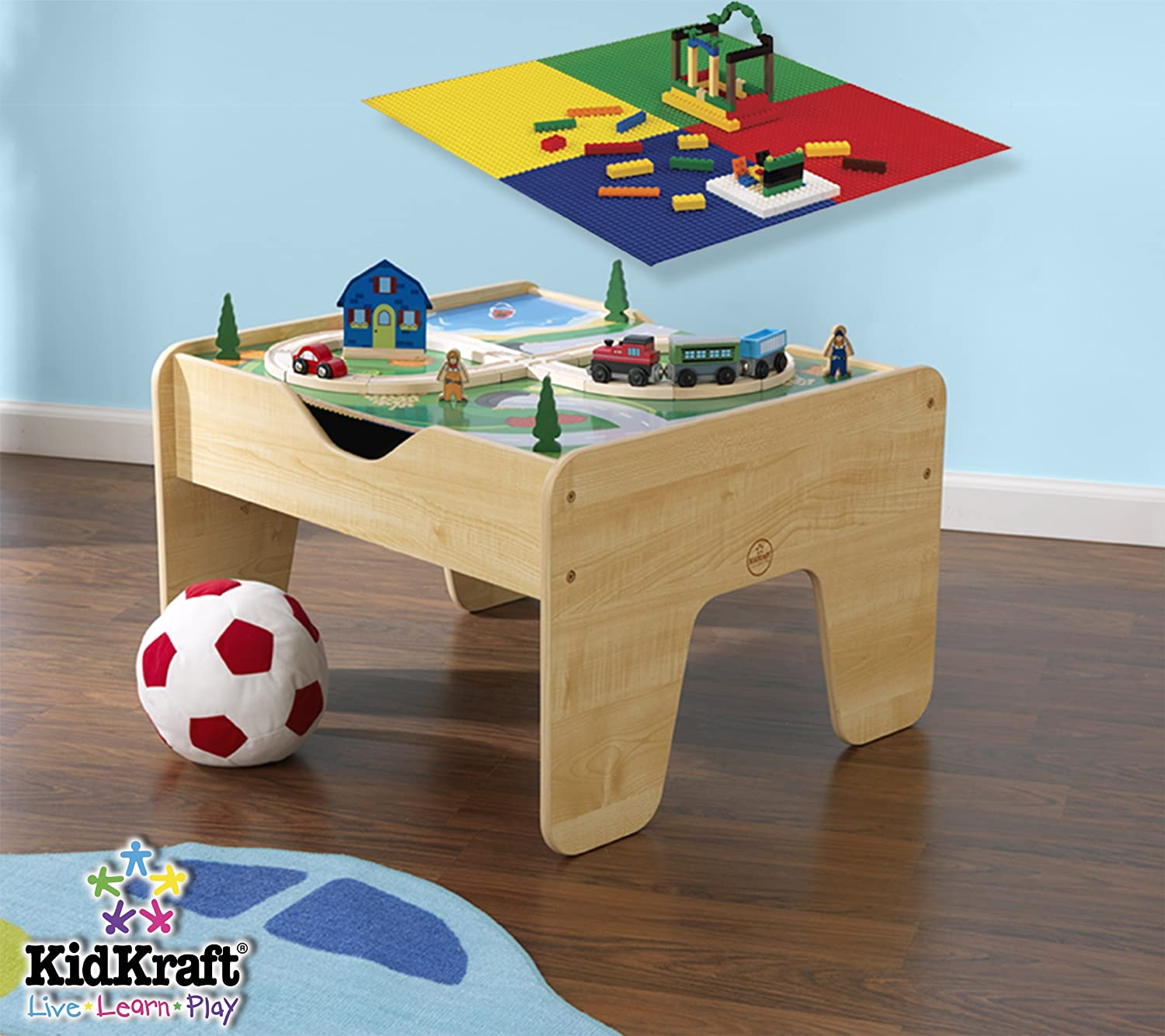 Amazon.com: KidKraft Lego Compatible 2 In 1 Activity Table: Toys U0026 Games