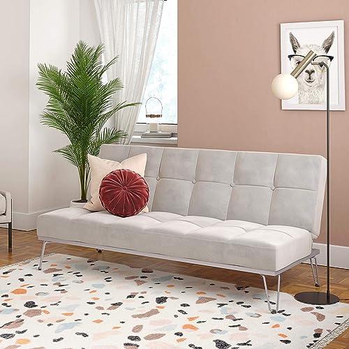 Novogratz Elle, Convertible Sofa Bed and Couch Futon, Gray