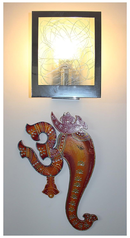Orange /& Red Ethnic Handmade Indian Art Wall Hanging of God Ganesha with Spiritual Om