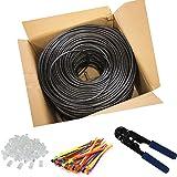 Multi-Cables CAT6 RJ45 100m, à l'extérieur utiliser imperméable - CCA - Direct Burial Ethernet Network câble Avec Pince à sertir - 550 Mhz-100 meter