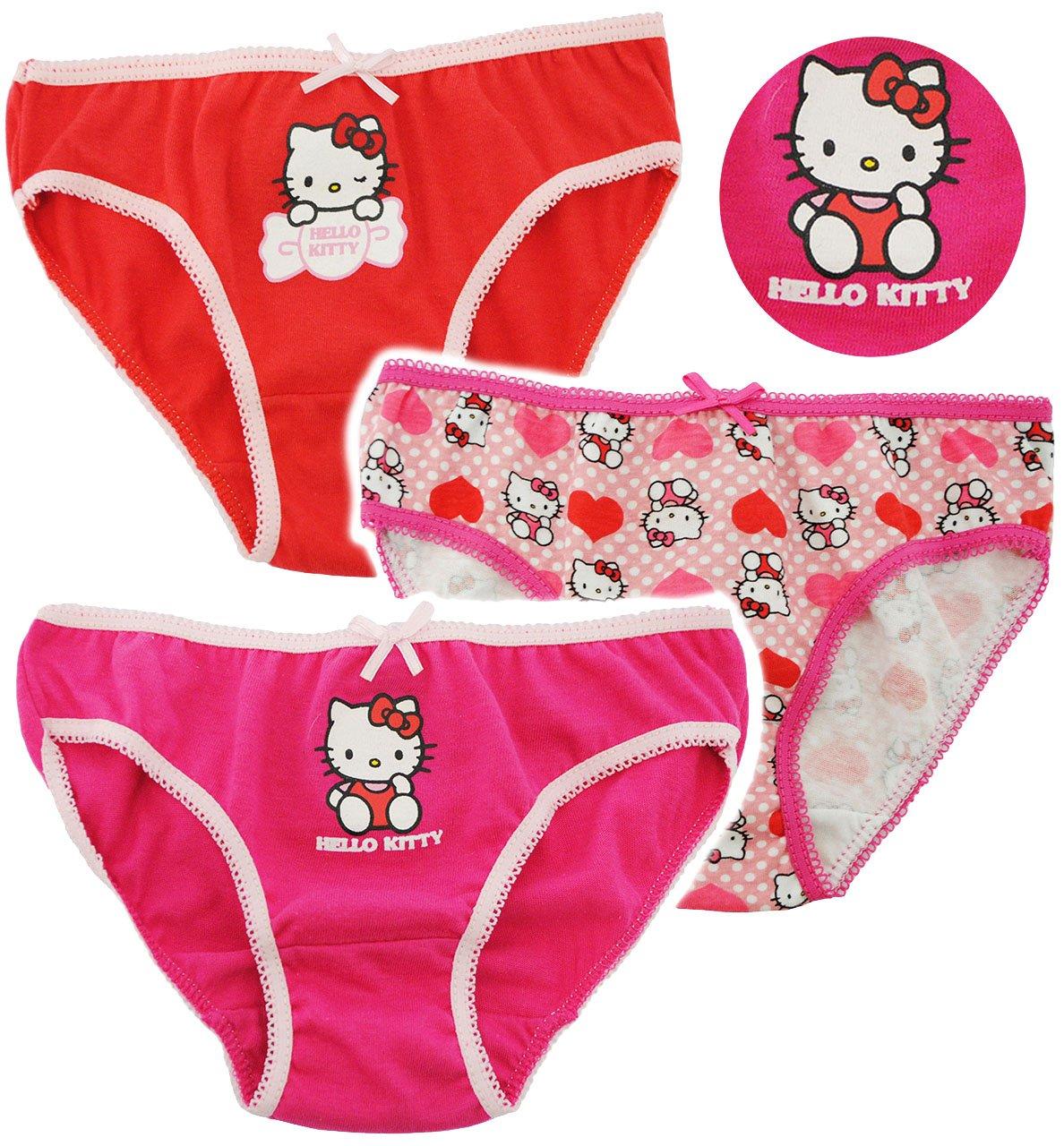 alles-meine.de GmbH 3 tlg. Slip / Unterhosen - Katze - Hello Kitty - Incl. Name -Größe 4 bis 5..