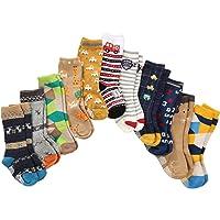 7 Paires Chaussettes non Pelucheuses de Garçon d'enfant en Bas âge Genou Haut de Coton épais avec des Poignées, Chaussettes Anti-Dérapantes de Bébés de Garçons