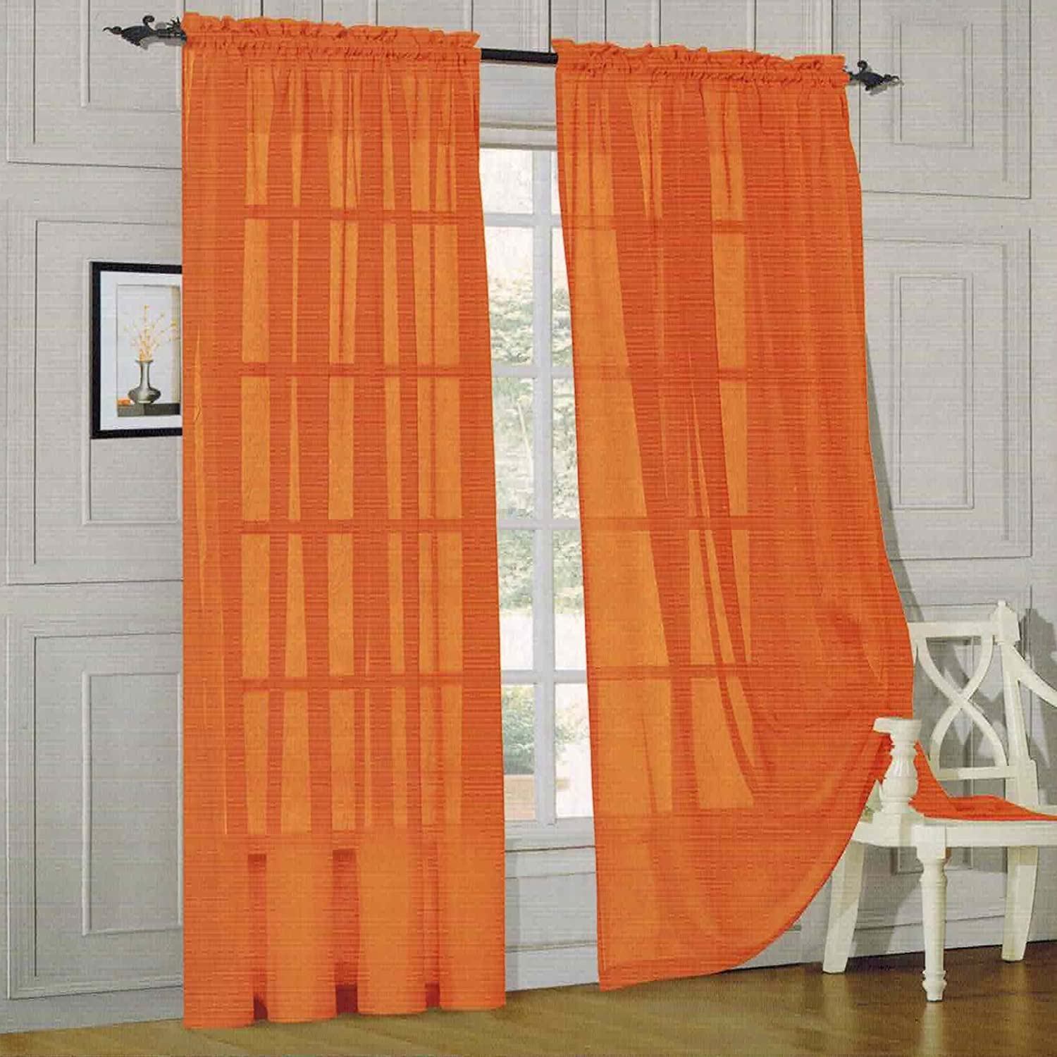 Elegance Linen SHEER PANEL with ROD POCKET - Window Curtain 60-inch width X 84-inch Length - Chocolate