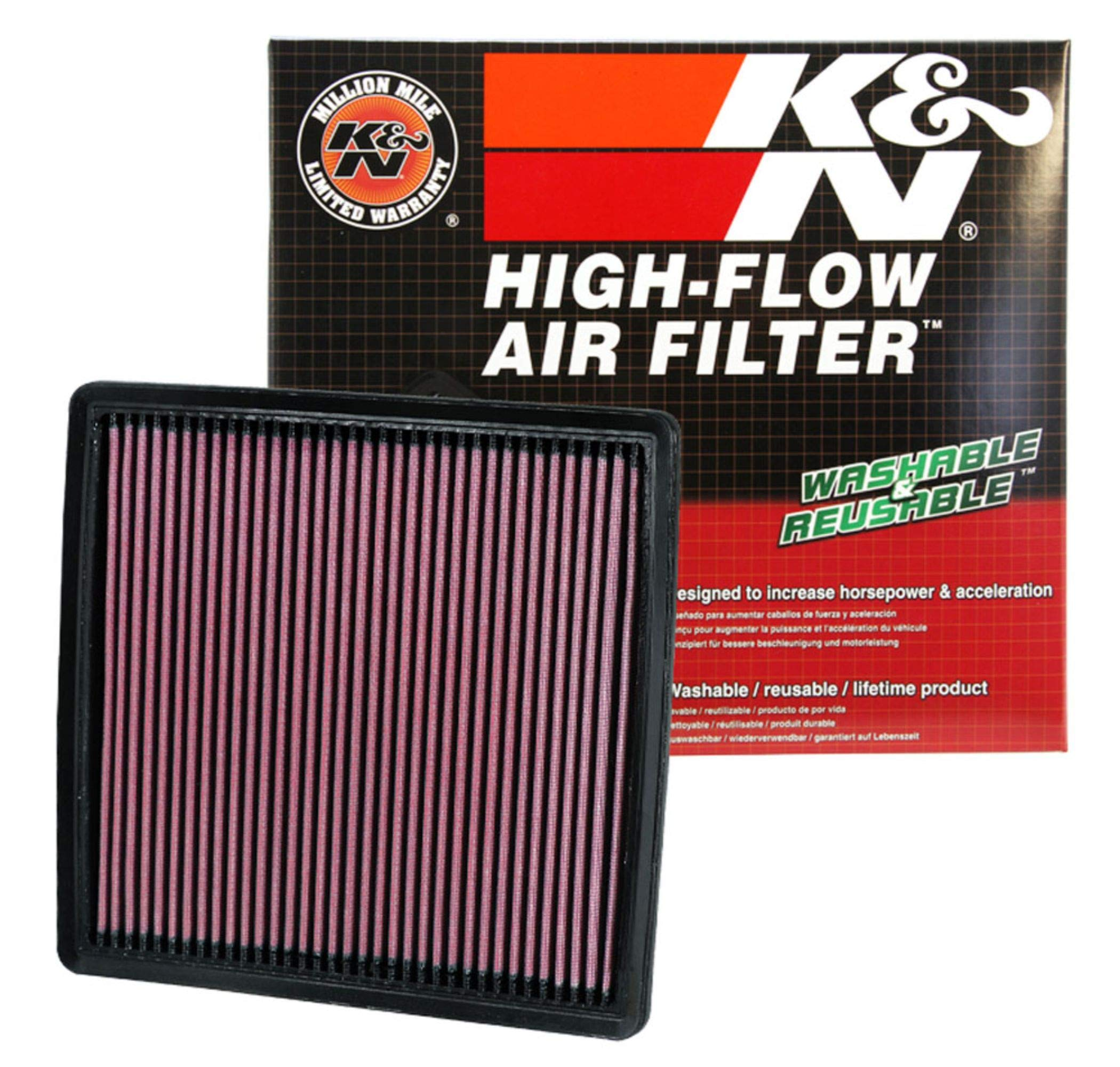K&N engine air filter, washable and reusable:  2007-2019 Ford/Lincoln Truck and SUV V6/V8/V10 (F150, F150 Raptor, Expedition, Navigator, F250, F350, F450, F550, F650) 33-2385 by K&N