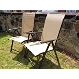 Set of 2 Garden Chairs Multi Position Recliner Chair Weatherproof Textoline