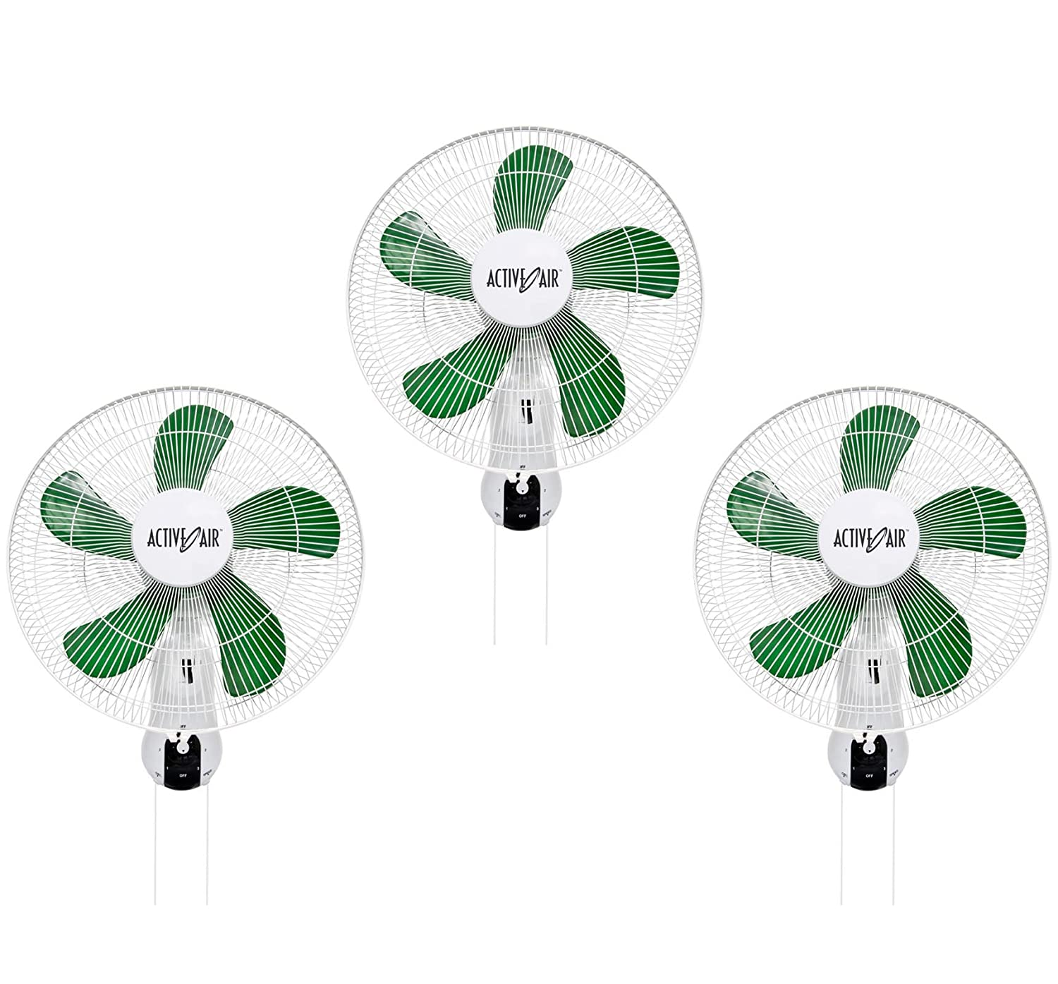 "(3) HYDROFARM ACF16 Active Air 16"" Wall Mountable Oscillating Hydroponic Fans"